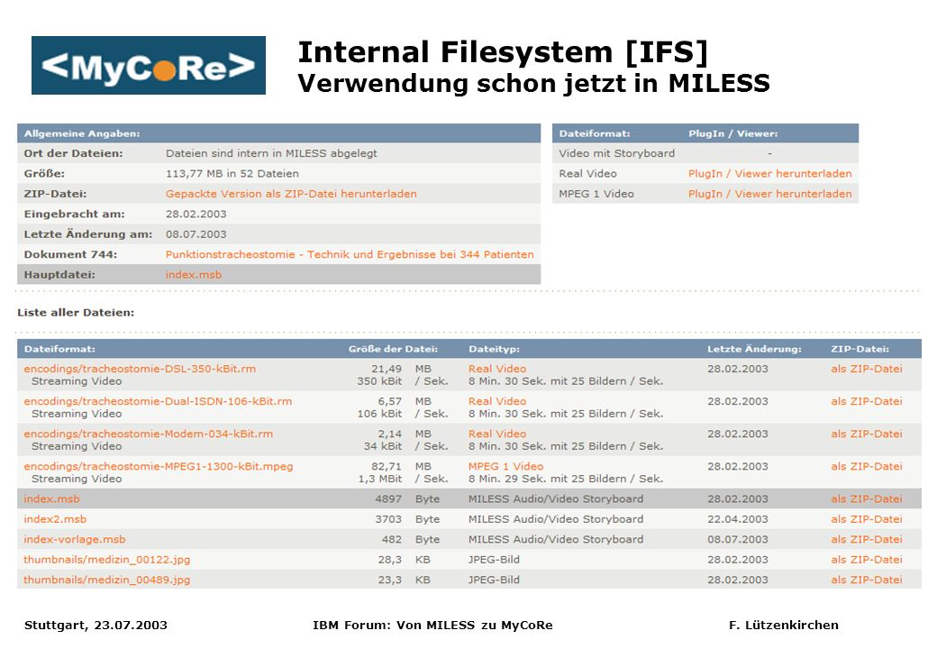 Internal Filesystem [IFS] Verwendung schon jetzt in MILESS
